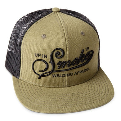 Up In Smoke Army Green - Black Puff Embroidery - Mesh Snap Back Hat