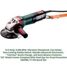 metabo angle grinder, wepba 17-150 quick ds