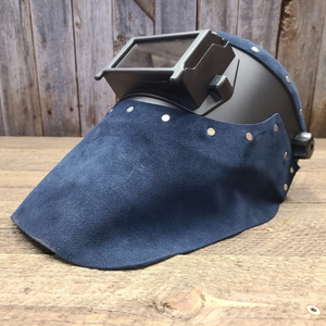 Outlaw Leather Black Flip Front / Blue Suede Welding Hood