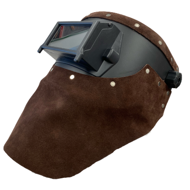 Outlaw Leather Black Flip Front / Brown Suede Welding Hood
