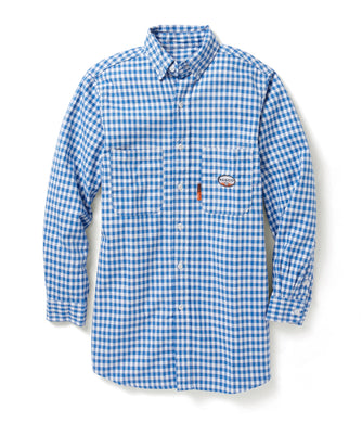 rasco fr, plaid uniform shirt, work blue and white