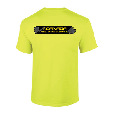canada welding supply hi-viz green shirt back
