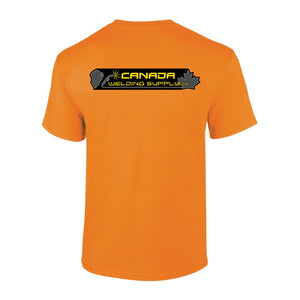 canada welding supply hi-viz orange shirt back