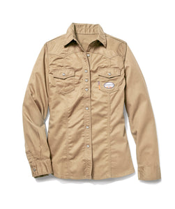 rasco fr, women's khaki work shirt