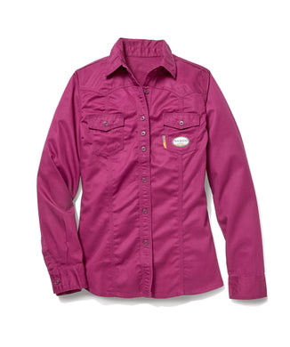 rasco fr, women's plum work shirt