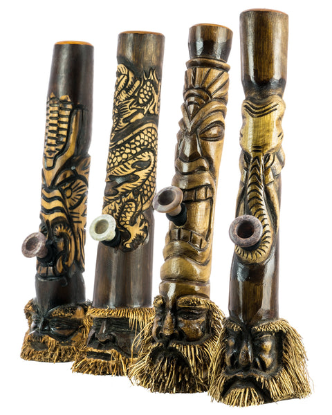 Indonesian Hand Carved Bamboo Bong Primitive Pipes