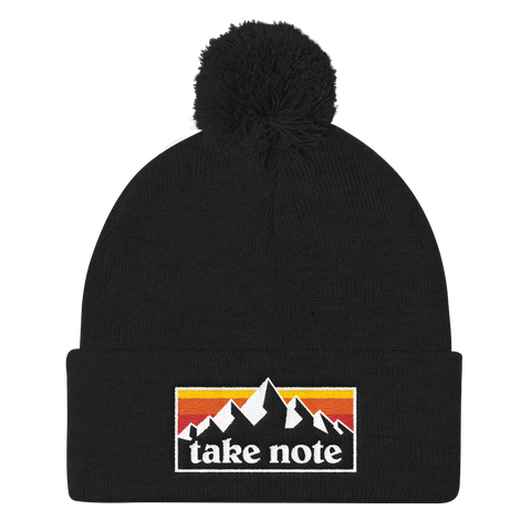 Take Note Mountains - Pom Knit Cap