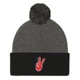 Tyreek Peace Sign - Pom Knit Cap