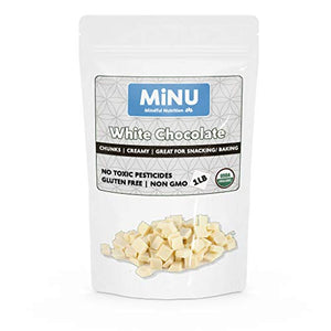 MiNU Organic White Chocolate Chunks Chips 16 oz (1 lb), MiNU Mindful Nutrition GoMix NonGMO Fair Trade