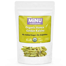 Load image into Gallery viewer, MiNU Organic Hunza Golden Green Raisins No Sulfur 16 oz (1 lb), Mindful Nutrition No Added Sugar, Seedless, Superfood, Raw, Paleo, Vegan, NonGMO, Gluten Free
