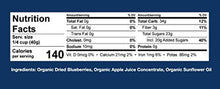 Load image into Gallery viewer, MiNU Organic Dried Blueberries No Sulfur 8 oz, Mindful Nutrition No Added Sugar (Apple Juice Infused), Seedless, Superfood, Raw, Paleo, Vegan, NonGMO, Gluten Free