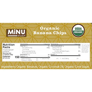 MiNU Organic Banana Chips Unsulfured No Sulfur 16 oz (1 lb), Mindful Nutrition, Superfood, Paleo, Vegan, NonGMO, Gluten Free
