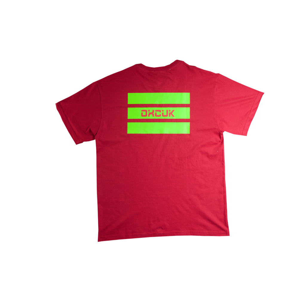 GREEN STRIPES - RED T
