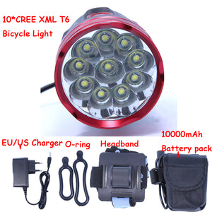 2016 New 18000 Lumens 10 X CREE XM-L T6 LED Bicycle Light Headlamp Headlight Bike Cycling Lamp + 10000mAh Battery pack + Charger