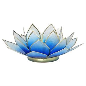 Lotus atmospheric light blue/white gold trim - By Surya Shop