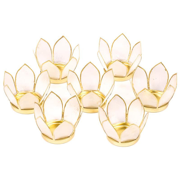 Set of 7: Lotus light small natural gold trim - By Surya Shop