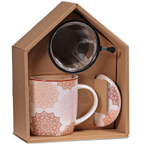 Gift box Tea Infuser Mug Mandala pink - By Surya Shop