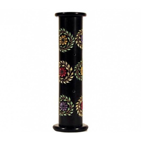 Incense holder soapstone pillar with flowers - By Surya Shop