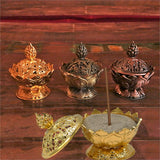 Incense burner Lotus golden colour - By Surya Shop