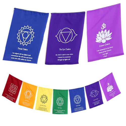 7 Chakra flags on a string - By Surya Shop