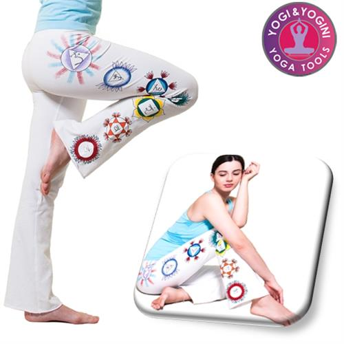 Yoga hand-painted chakra pants cotton white S/M/L
