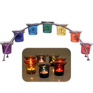Candle lights in holder Chakras - By Surya Shop