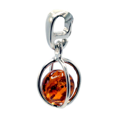 Pendant sterling silver with amber ball - By Surya Shop