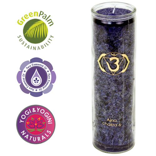 Aromatic Candle stearin 6nd Chakra 100 hours     Quality of 6th chakra (Ajña) - INTUITION, WISDOM - By Surya Shop