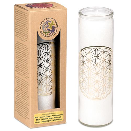 Scented candle Flower of Life white stearin in glass - By Surya Shop