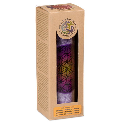 Scented candle Flower of Life purple stearin in glass - By Surya Shop