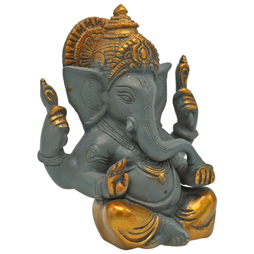 Ganesha grey with golden coloured finish - By Surya Shop