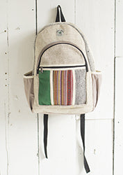 Hemp Backpack with Stripe Pocket - By Surya Shop