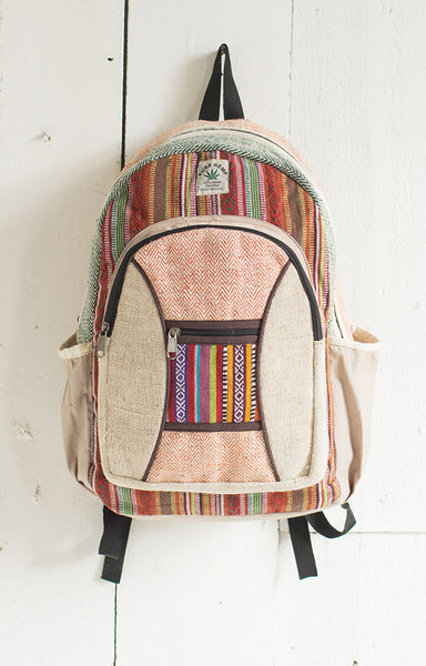 Hemp Backpack with Gheri Fabric Trim - By Surya Shop