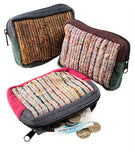 Recycled Silk and Cotton Zip Purse - By Surya Shop