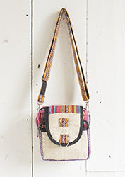 Hemp Side Bag with Gheri Fabric Trim/ Strap - By Surya Shop