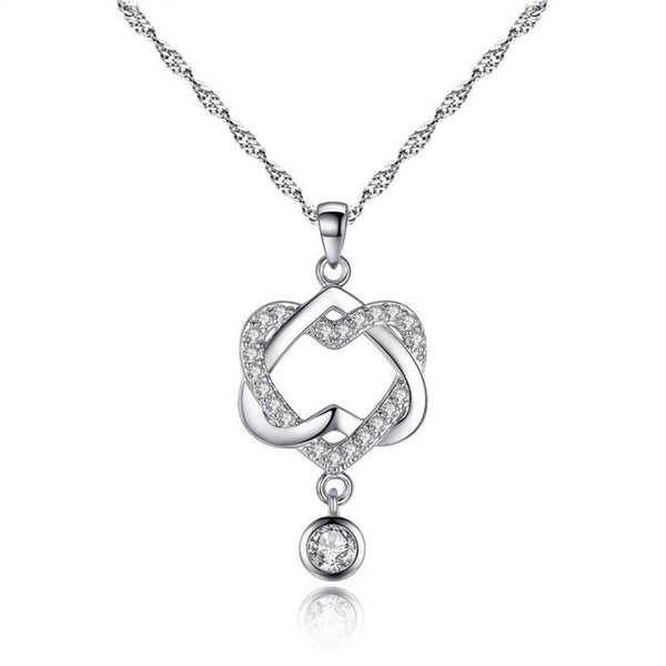 Women Double Heart Pendant Necklace - By Surya Shop