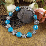 Tibet Sliver Color Gem Stone Flower Bracelet - By Surya Shop