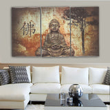 3PC Buddha Art Unframed Print Canvas for your wall - By Surya Shop