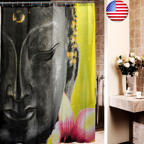 US 72'' Waterproof Buddha Buddhism Lotus Toliet Bathroom Shower Curtain+12 Hooks