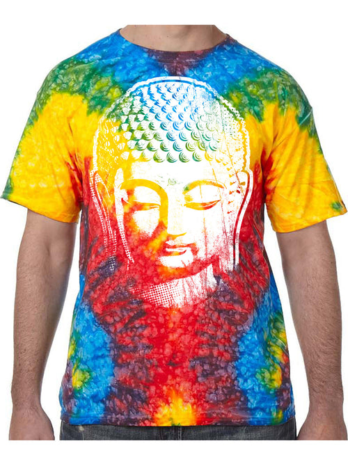Big Buddha Head Tie Dye Tee Shirt - Woodstock, Small - By Surya Shop