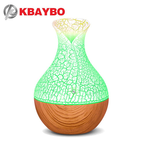 130ml Vintage Vase Crack Wood with Led Ultrasonic Aroma Humidifier USB Air Diffuser Purifier Atomizer