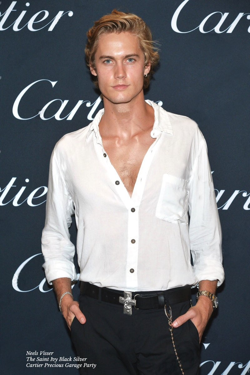 Neels Visser wearing the Brazen Palace Saint Ivy black & silver leather belt to the Cartier Precious Garage party during New York Fashion Week