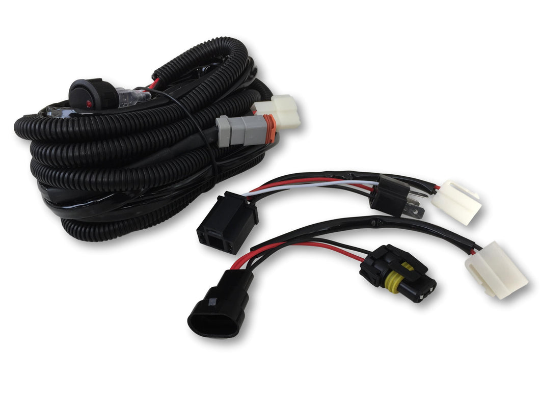 Plug and play wiring loom, driving lights to high beam switch includes H3 and H4 adapter