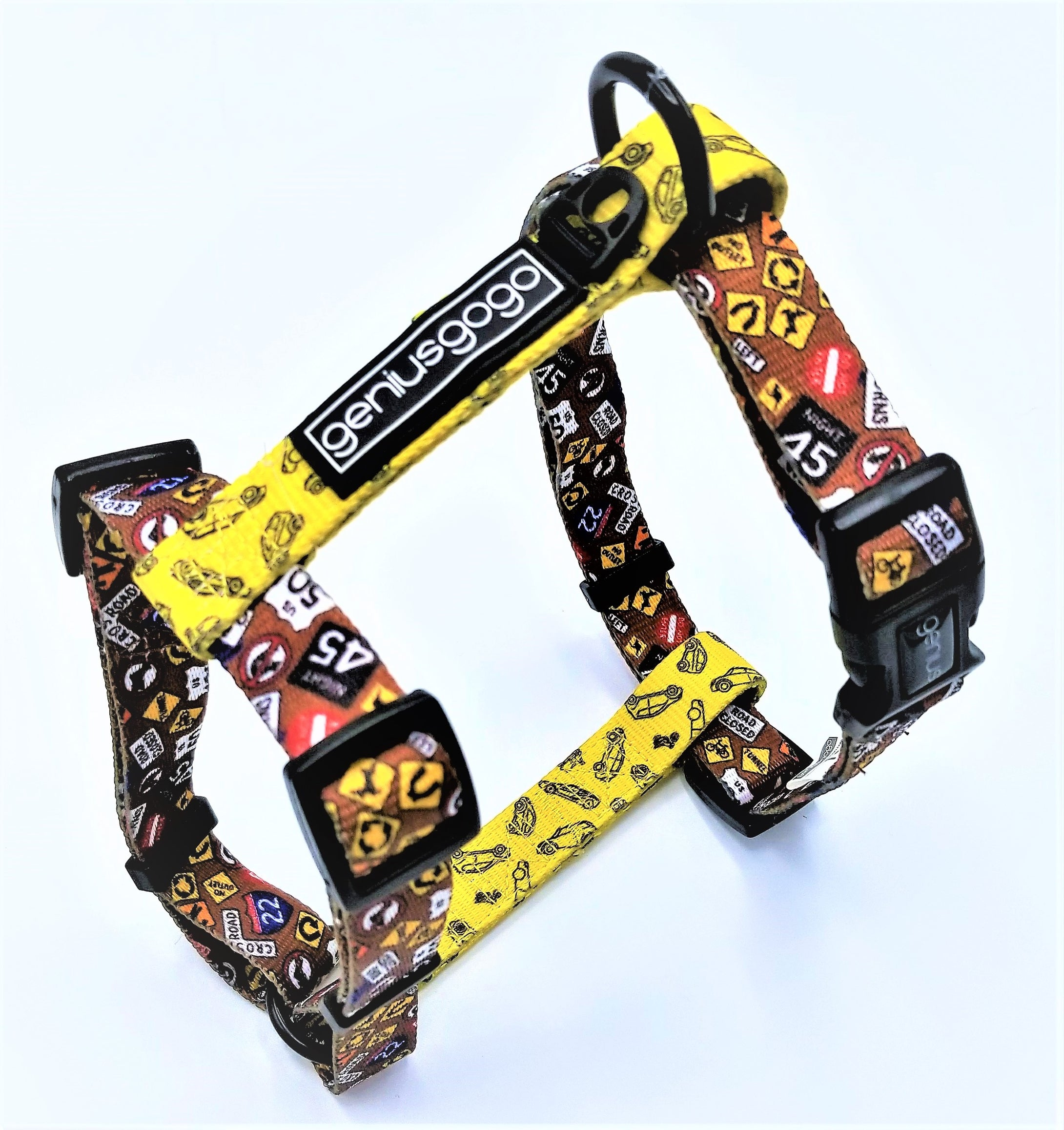 Geniusgogo Printed Polyester Adjustable H Strap Dog Harness - Road Signs/Vehicles