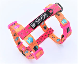 Geniusgogo Printed Polyester Adjustable H Strap Dog Harness - Owls/Hearts