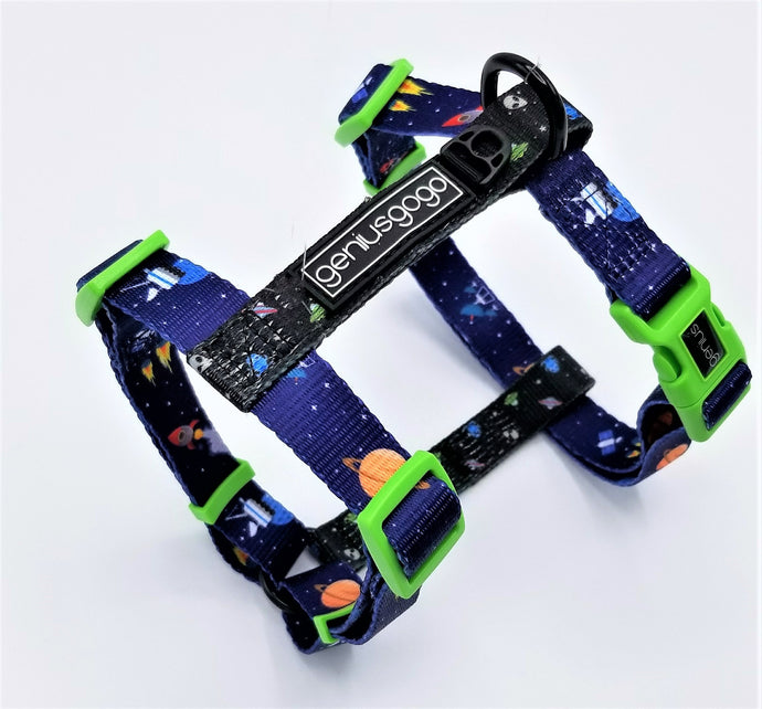 Geniusgogo Printed Polyester Adjustable H Strap Dog Harness - Galaxy/Aliens