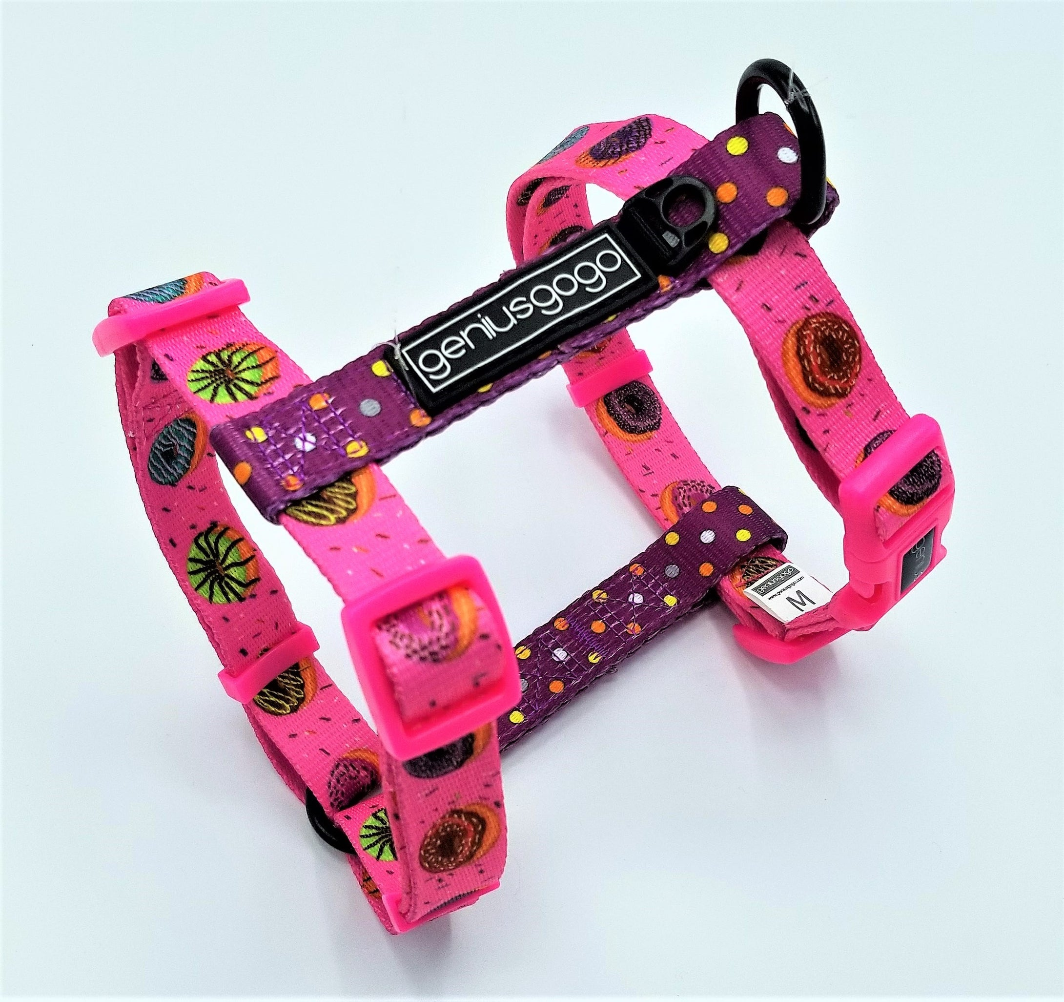 Geniusgogo Printed Polyester Adjustable H Strap Dog Harness - Donuts/Polka Dots