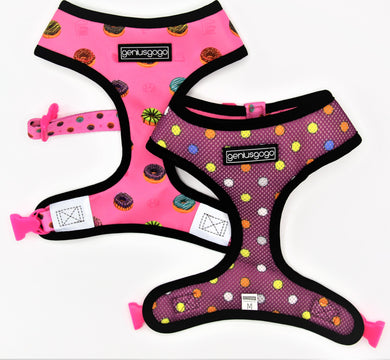 Geniusgogo Double Sided Mesh/Neoprene Dog/Pet Reversible Harness - Donuts/Polka Dots
