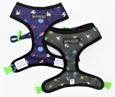 Geniusgogo Double Sided Mesh/Neoprene Dog/Pet Reversible Harness - Galaxy/Aliens