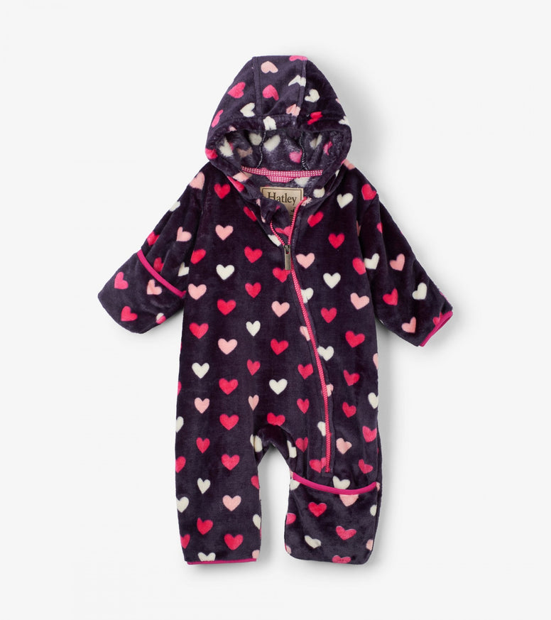Hatley Fuzzy Fleece Baby Bundler - Lovey Hearts